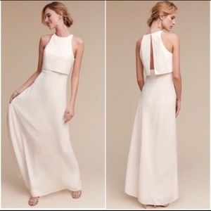 BHLDN ivory crepe wedding prom formal gown